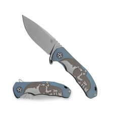 3504 Folding Knife Eafengrow Skull S35vn Blade Blue Titanium Handle Best Outdoor Camping Hunting Survival Pocket Knives